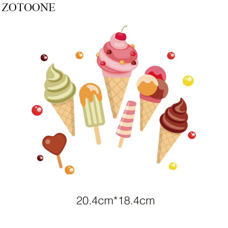 ZOTOONE Iron on Transfer Ice Cream Patches for Girl Clothing DIY T shirt Dress Applique Heat Transfer Vinyl Stickers on Clothes in Patches from Home Garden