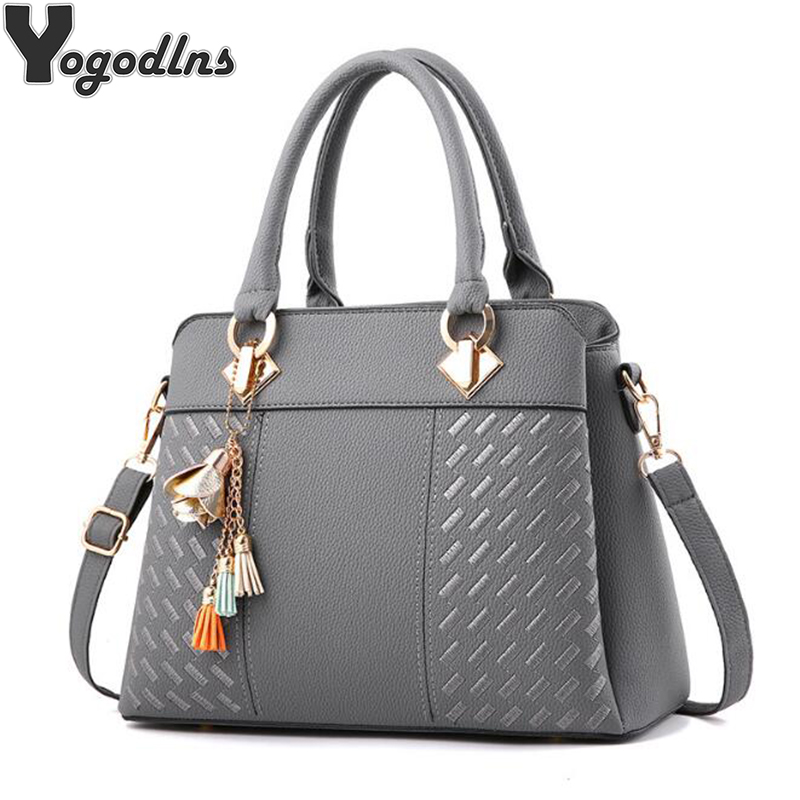Fashion Women Handbags Tassel PU Leather Totes Bag Top handle Embroidery Crossbody Bag Shoulder Bag Lady Simple Style Hand Bags-in Shoulder Bags from Luggage & Bags
