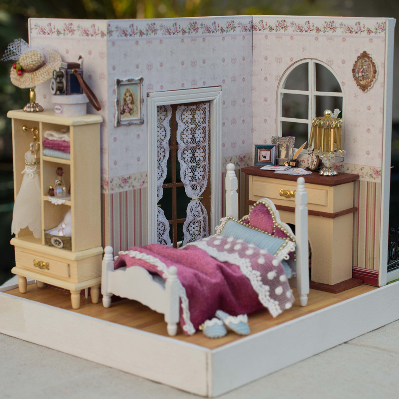 Elegant DIY Doll Houses 3D Wooden Dollhouse Handmade Toys With Furnitures Creative Gift Cindy's Happy Time Z001 #D laete z001 9