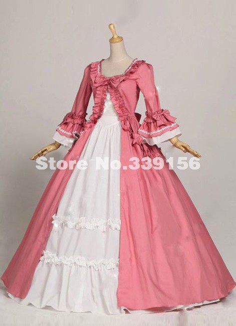 Hot Sale Pink Long Flare Sleeves Bow Gothic Victorian Dresses Marie  Antoinette Queen Ball Gowns Party bba829fd9383