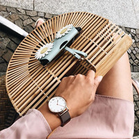 ff046405d Bamboo Bag Women Clutch Wooden Purses And Handbags Luxury Designer Hollow  Out Summer Beach Bags For
