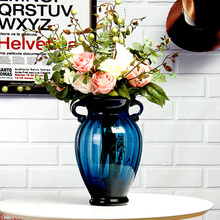 Europe glass vase Binaural blue vases tabletop living room Hydroponics Flower arrangement container  home decorative