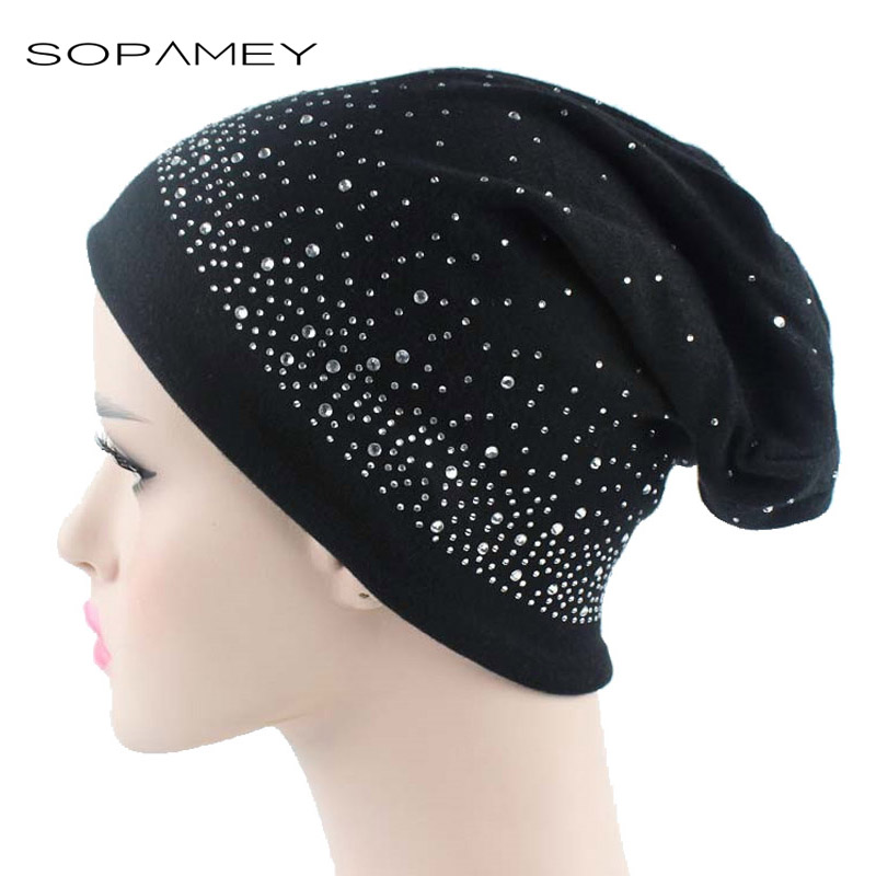 2017 Beanie Hats for Women Diamond Beanies Autumn And Winter Brand Knitted Hat Turban Skullies Hip-hop Caps Stocking Ladies Lnit