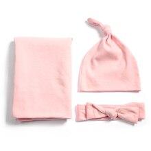 Хлопковая детская Пеленка из Джерси, одеяло для новорожденных, шапка с узлом для маленьких мальчиков и девочек