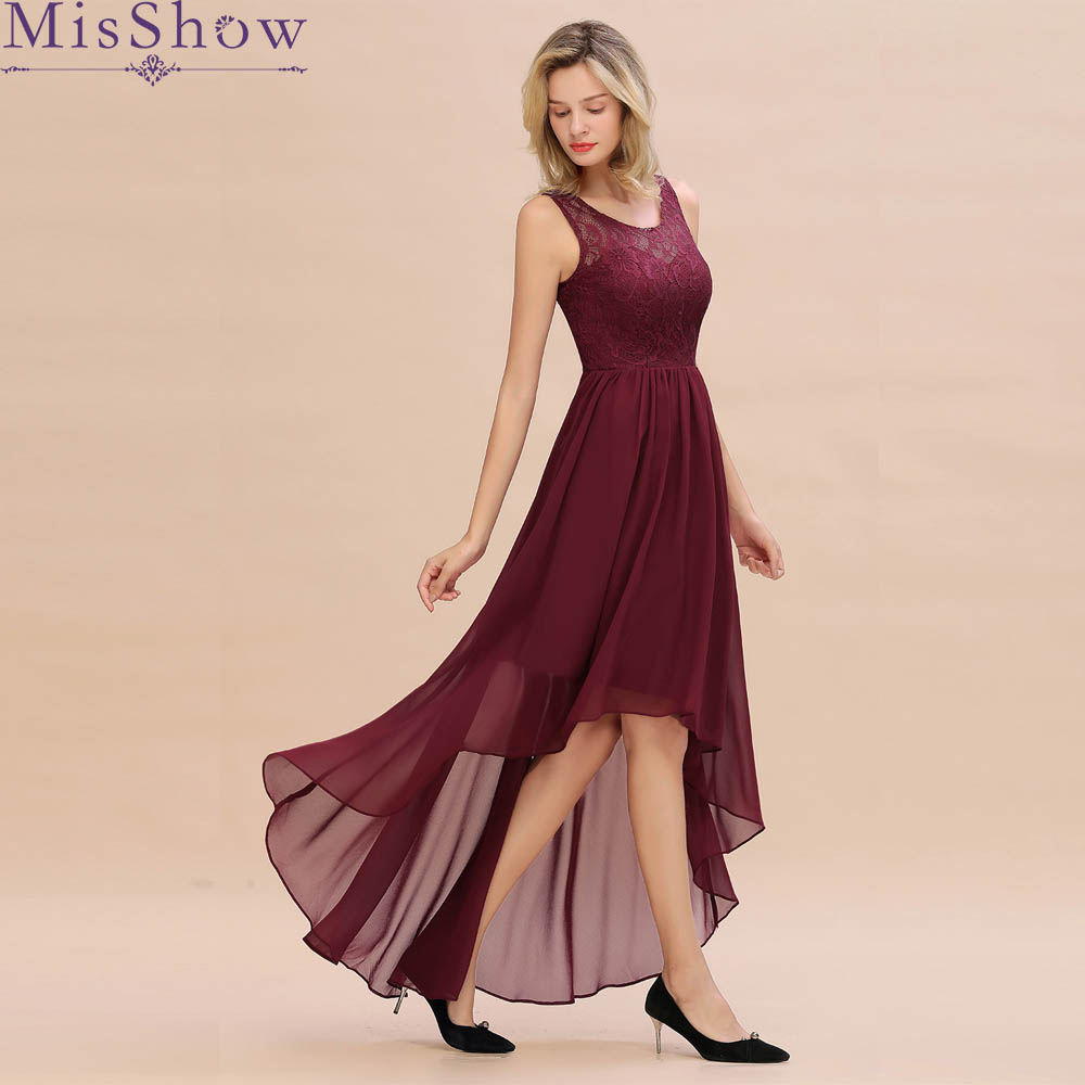 Elegant Women Ladies Sleeveless Burgundy Long Cocktail Dresses Scoop Neck Lace Asymmetrical Cocktail Party Dresses 2019