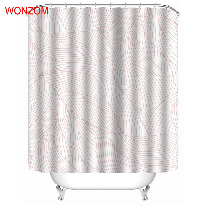 WONZOM Raindrop Waterproof Shower Curtain Bathroom Decor Feather Decoration Cortina De Bano 2018 Polyester Bath Gift In Curtains From Home