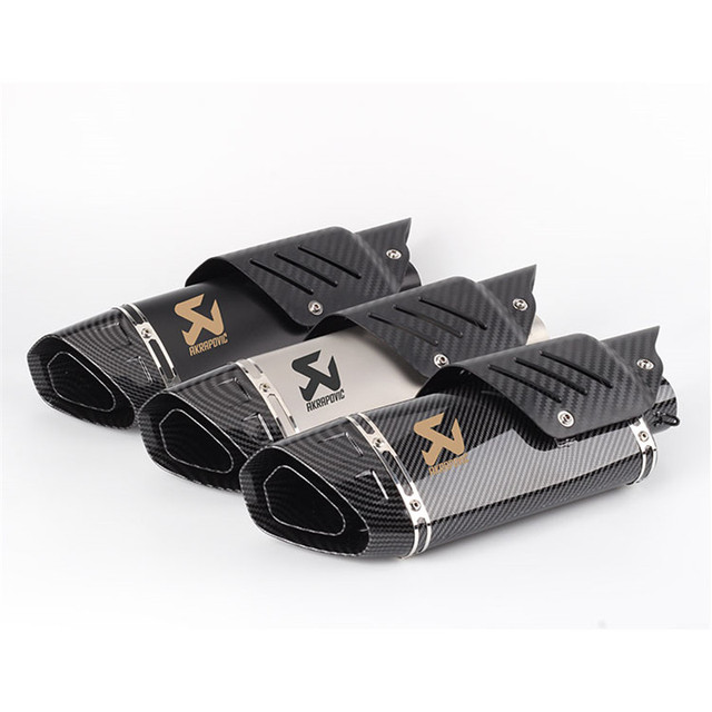 Motorcycle Akrapovic modified exhaust pipe muffler big four corner exhaust with Carbon Fiber Protector cover  R6 ZX6R Z900