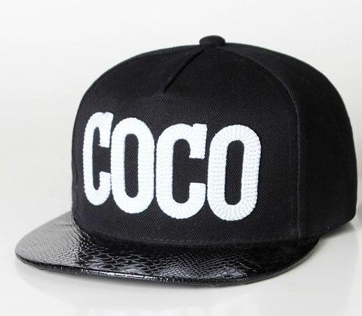 8a3c35a7a82 Bones Aba Reta noir blanc Hip Hop chapeau lettre COCO Swag Style femmes  casquette décontractée noir PU jante Patchwork plat casquette CP060 dans  Casquettes ...
