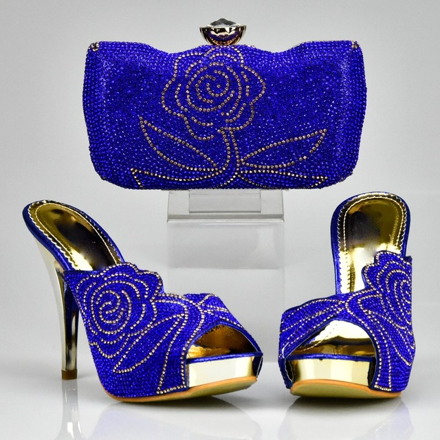 Latest Matching Shoes and Bag Set Decorated with Rhinestone Black Color Matching Italian Shoes and Bag Set Decorated with Stone