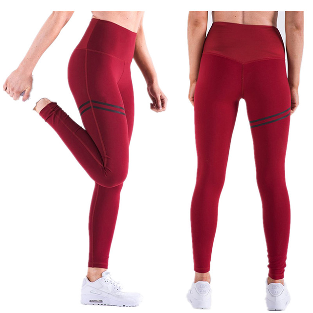 Women Yoga Pants High Fitness Elastic Sport Leggings Tights Sports Slim Running Sportswear Training Trousers Solid Color