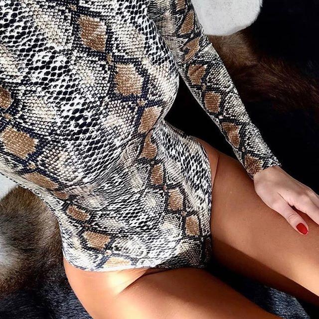 EIFER Leopard Bodysuit for Women Sexy Bodycon Skinny Body Suit Turtleneck Long Sleeve Playsuit Printed Romper Jumpsuits 8
