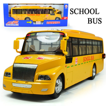 1/32 Metal Cars Toys 4 Open Door Music& Light Pull Back USA School Bus Diecast Model Authentic Van Toys For Children Kids Gifts