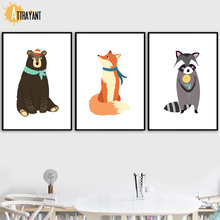 Bear Fox Raccoon Wall Art Canvas Painting Nordic Posters And Prints Wall Pictures For Kids Bedroom Baby Boy Girl Room Home Decor smile circle 2018 summer leisure sport sandals for women shoes fashion flat platform shoes women slipper open toes sandals