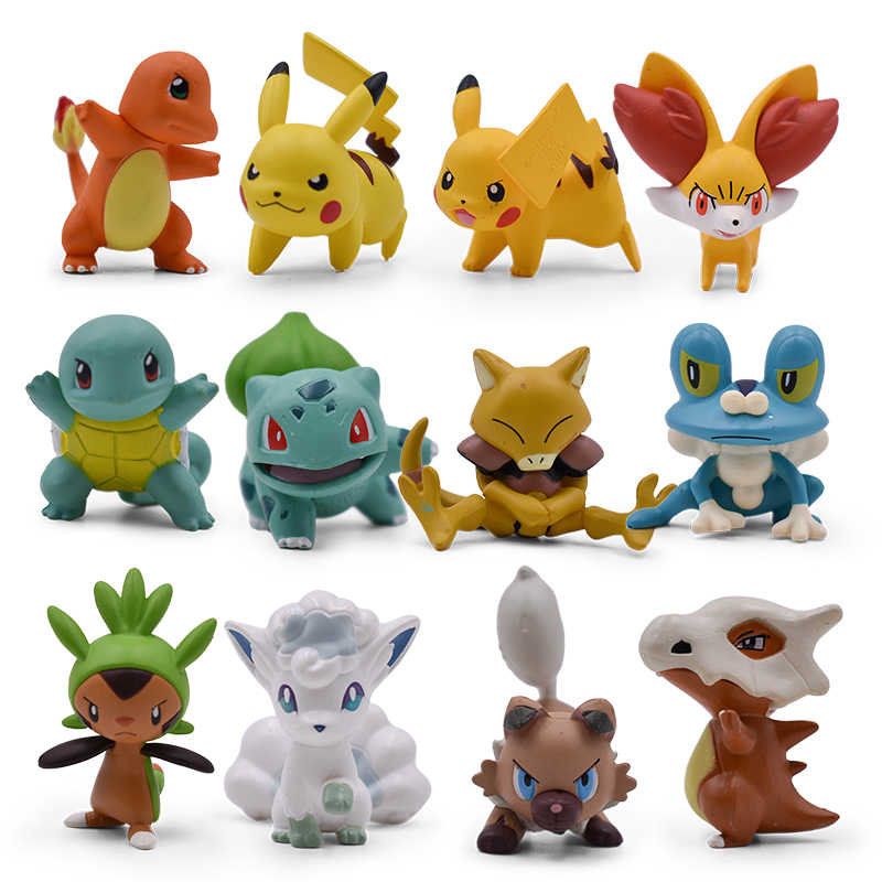 12 Style PVC Anime Figures Pikachu Squirtle Bulbasaur Cubone Mini Cartoon Elf Model Collection Gift