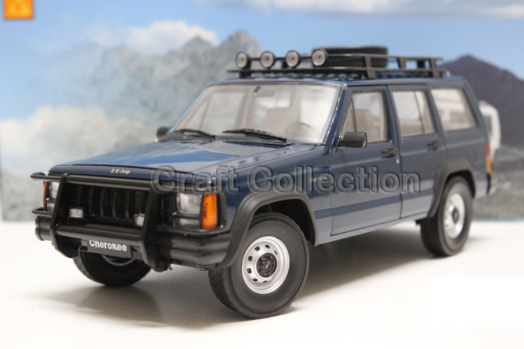 * Blue 1/18 Car Model for Jeep Cherokee 2500 Off Road Vehicle SUV Alloy Toy Car