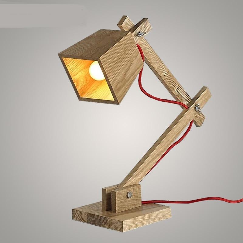 Nordic твердой древесины настольная лампа творческий настольная лампа исследования спальня ночники твердой древесины настольная лампа CL 2017