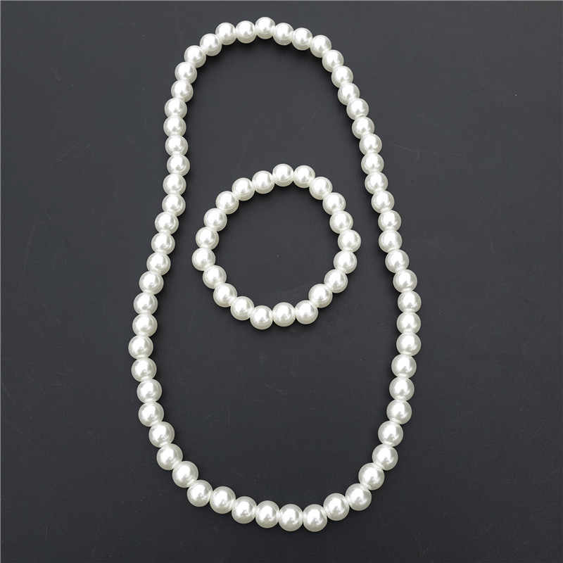 Children Handmade Plastic White Pearl Beads Necklace & bracelet Jewelry Set For Kids Girls