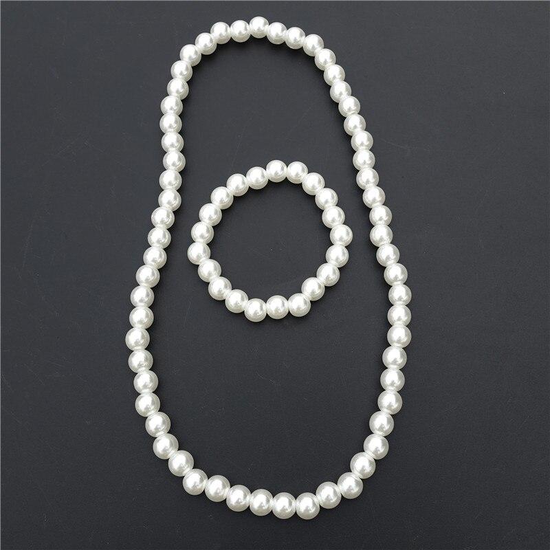 Children Handmade Plastic White Pearl Beads Necklace & bracelet Jewelry Set For Kids Girls