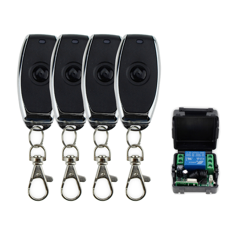 315MHz DC12V 1CH RF Metal Wireless Remote Control Switch Door Opener 1/2/3/4 Transmitters With Receiver To Control Power Supply
