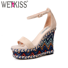 WETKISS Ankle Strap High Heels Women Sandals 2019 Fashion Ladies Platform Summer Shoes Open Toe Cow Suede Ethnic Wedges Footwear купить недорого в Москве