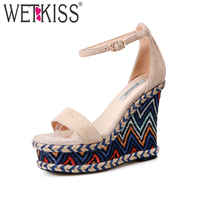 WETKISS Ankle Strap High Heels Women Sandals 2018 Fashion Ladies Platform Summer Shoes Open Toe Cow