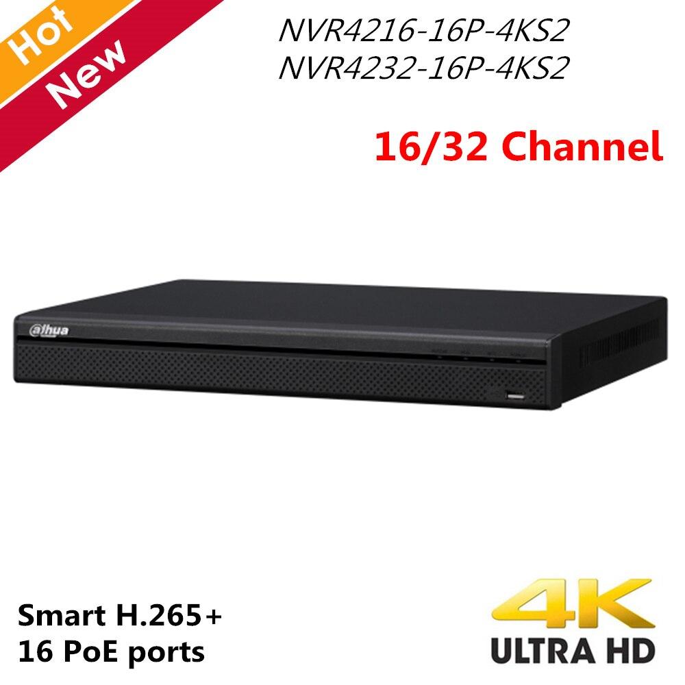 Original Dahua 4 K Inglês versão NVR4216-16P-4KS2 NVR4232-16P-4KS2 32chl 16 portas PoE 4 K H.265 16ch Gravador de Vídeo em Rede