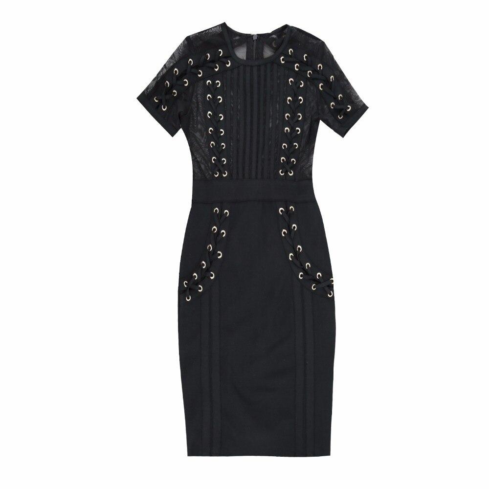 2018 Qualité Courtes Femmes Maille Noir Mini Robe Porter Top Parti Élégante Mode Bandage wPk8nXO0