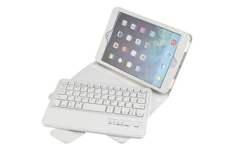 For Apple iPad Mini 3 / 2 / 1 7.9 2-in-1 QWERTY Removable Wireless Bluetooth Magnetic ABS keyboard Leather Stand Case Cover