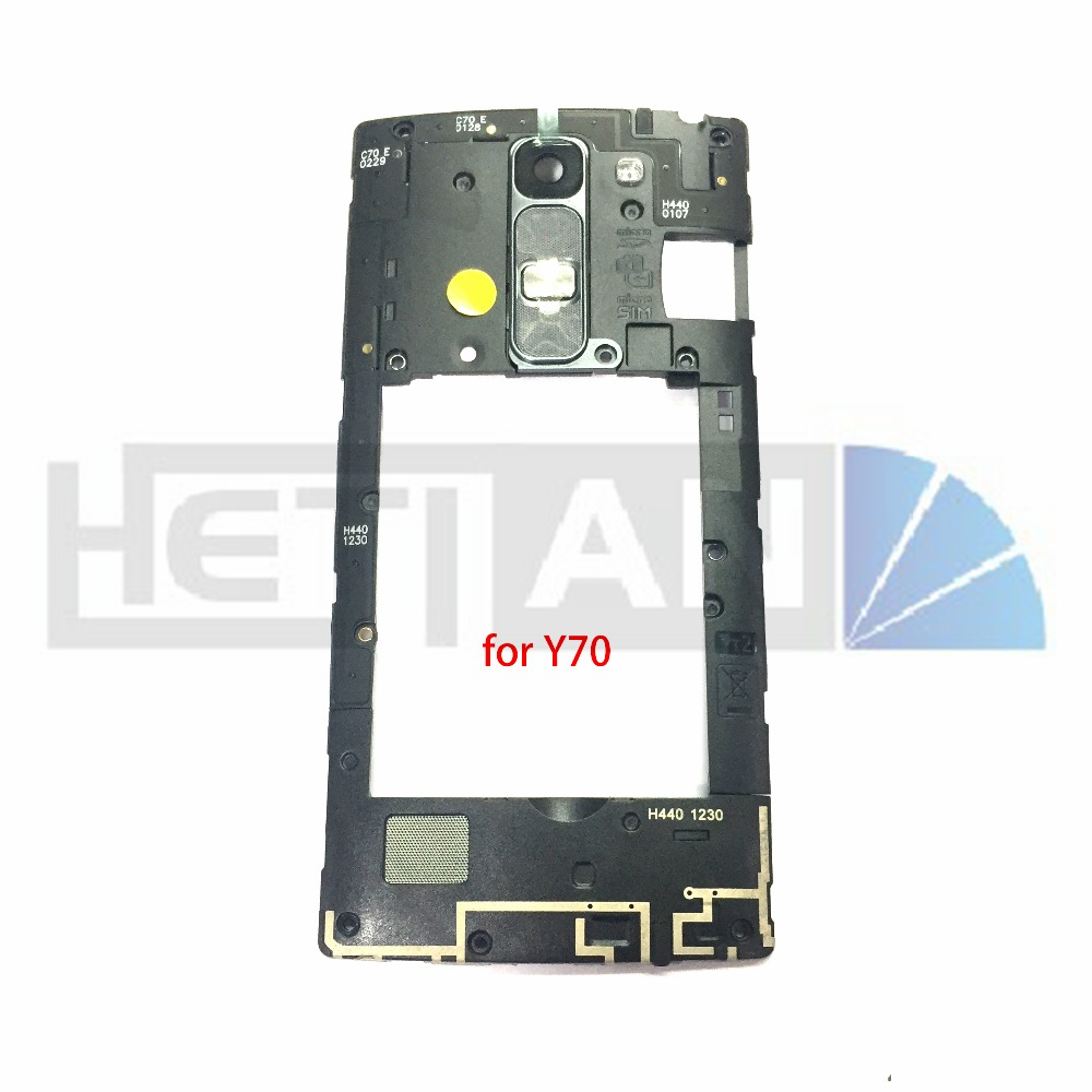 1pcs middle bezel frame Back Housing Plate Camera Lens Cover Home Button Key+loud speaker Bezel Frame For LG Y70 Y 70.