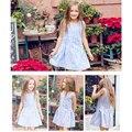 Marca vestido de las muchachas niños vestidos de princesa de las muchachas ropa de verano vestido de 2016 tamaño 6-15 t ropa de los niños ocasionales al por menor tutu dress
