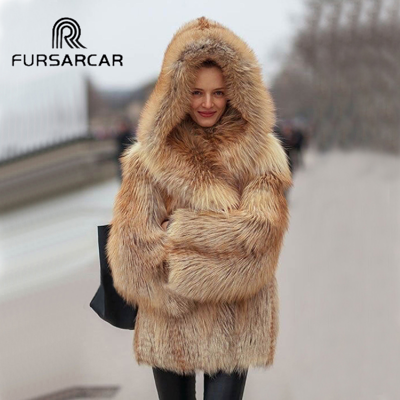 FURSARCAR Natural Fox Fur Coat Women Winter Luxury Silver Fox Fur Outwear 2019 New Fashion Thick Gold Fox Fur Coat With Fur Hood