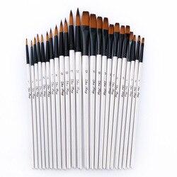 12/24 pces punho de madeira da pintura da aguarela do cabelo de náilon pincel conjunto caneta para a aprendizagem a óleo acrílico pintura da arte escovas suprimentos