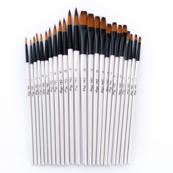 12/24Pcs Nylon Hair Wooden Handle Watercolor Paint Brush Pen Set for Learning Oil Acrylic Painting Art Paint Brushes Supplies