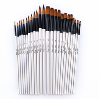 24 Pcs Set Nylon Hair Wooden Handle Watercolor Paint Brush Pen Set For Learning Oil Acrylic