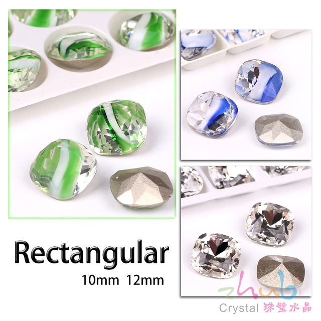 Faceted Crystal Square Stone Beads 10 12MM Czech Glass Loose Flatback  Rhinestones For DIY Making Needlework Accessories Beads 82c8b3192376