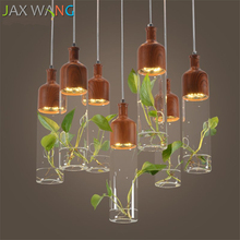 JW_Restaurant Pendant Lights Plant Wooden Lamps Modern LED Bar Aisle Dining Room Light Nordic Glass Aquarium Lamp