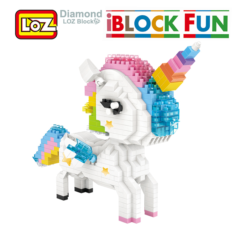 LOZ Rainbow Unicorn Diamond Blocks Cartoon And Mytholog Figure Building Diamond Blocks Figure Toy For Age 14+ Offical Authorized стоимость