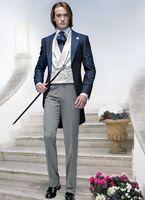 2017 Последние Пальто Пант дизайн итальянский темно синий Мужчины Костюм Пром фрак Slim Fit 3 шт. смокинг на заказ жениха костюм блейзер Ternos