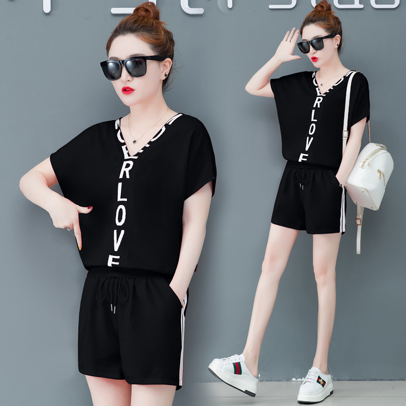 2019 biker shorts Sport suit female summer new han edition running loose short sleeve shorts fashion leisure clothing two piece set tide in Women 39 s Sets from Women 39 s Clothing