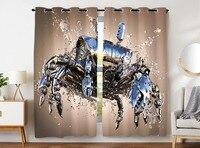 HommomH Curtains (2 Panel) Grommet Top Darkening Blackout Room Cool Crab Machine Metal