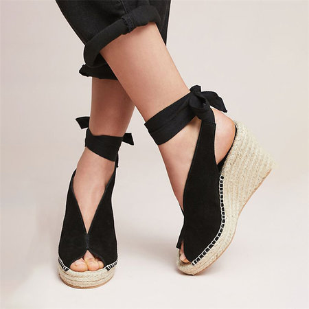 BLACK Suede Leather Women Sandals Wedges High Heels Peep Toe Pumps Lace Up Platform Shoes