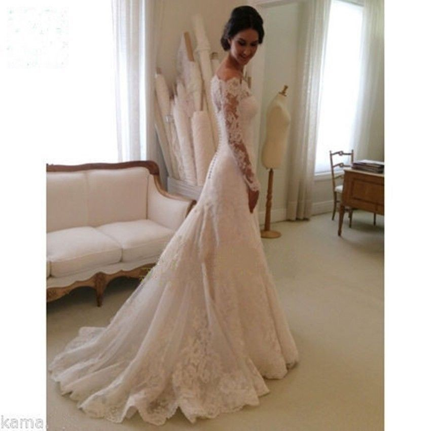 Lace-Mermaid-Wedding-Dresses-With-Long-Sleeve-2015-White-Strapless-With-Court-Train-Bridal-Gowns-vestido