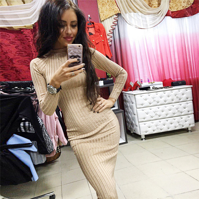 Spring Women Knitted Dress Office Long Sleeve Midi Black Khaki 2017 Robe Sexy Party Dresses Autumn Elegant O-Neck Sweater Dress