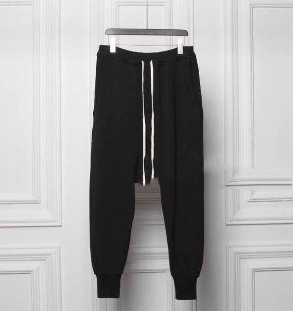 Pantalons homme оуэнс спортивные хип-хоп конические низкий падения промежность штаны черный бегунов гарлем комбинезон шаровары мужчин