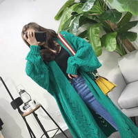 Sweater Cardigan Autumn Girl Korean Casual Fashion Medium Long Lantern Sleeve Solid Color Thin Jacket Twist Knit Cardigan