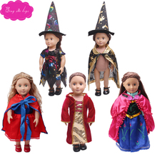 18 inch Girls doll clothes princess Ann superman witch suit hat American newborn dress Baby fit 43 cm baby Halloween c41