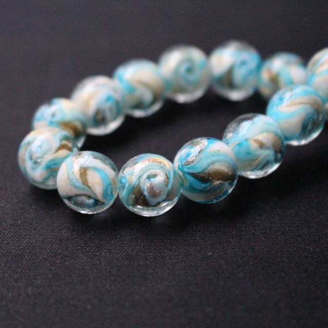 10pcs/lot 12mm 14mm Lampwork Glass Beads With Ocean Blue Gold rotation for  earring necklace making