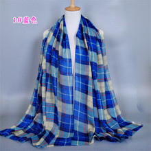 2016 women's high fashion yarn material color plaid scarves sunscreen shawl free shipping 180-90CM