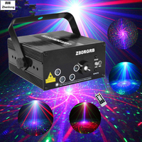 AC110V 220V 5 Lens 80 Patterns Projector Light And Music For Disco Party RGB Disco Laser Show Stage Machine Floodlight