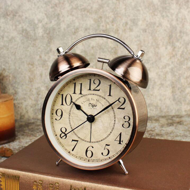 Double Twin Bell Vintage Retro Alarm Clock Loud For Heavy Sleeper Old Fashioned Table